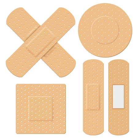 bandages: illustration of medical bandage in different shape