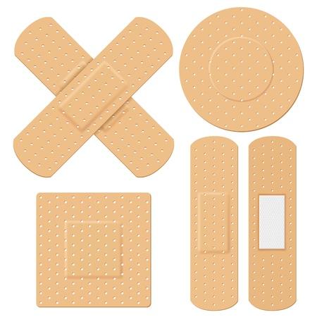 curitas: ilustraci�n de vendaje m�dico en diferentes formas Vectores