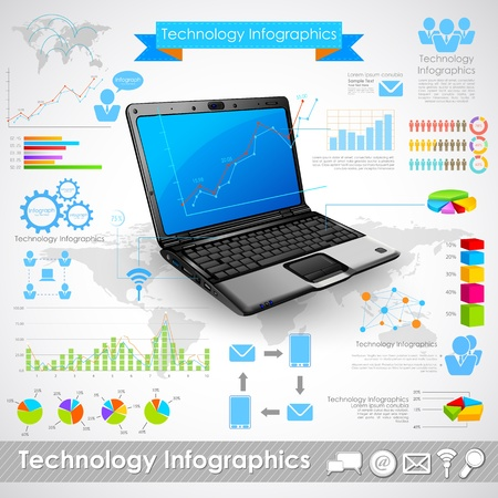 illustration of laptop technology infographic chart Stock Vector - 20922679