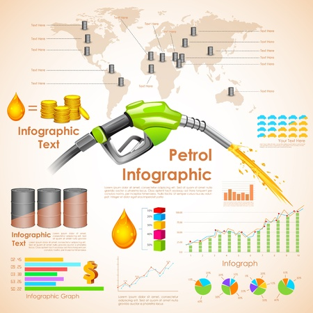 oil barrel: illustration of petroleum infographic chart with statistic