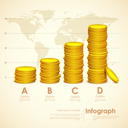 illustration of stack ok gold coin on world map backdrop Vector