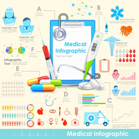 illustration of equipment and medicine in medical infographic illustration