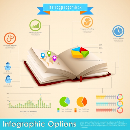 composition book: illustration of education infographic in open book