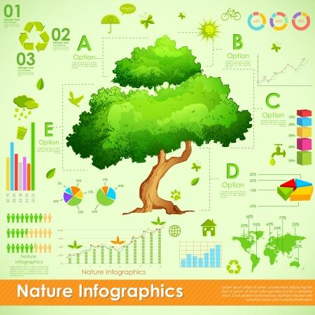 infochart: illustration of tree in environmental infographic Stock Photo