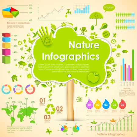illustration of tree in environmental infographic illustration