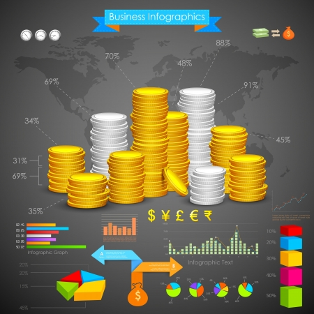 illustration of coin bar graph business infograph illustration