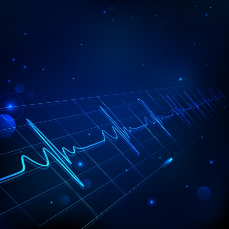 medical technology: illustration of heart beats on Healthcare and Medical background