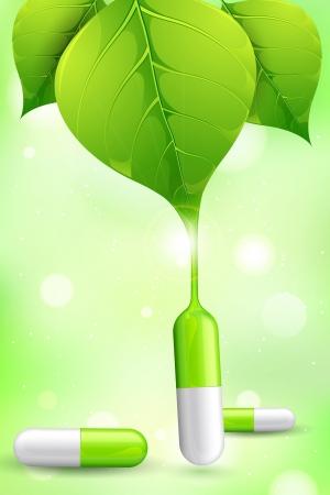 medicinal plants: ilustraci�n de la medicina herbal formada por el jugo de la hoja Foto de archivo