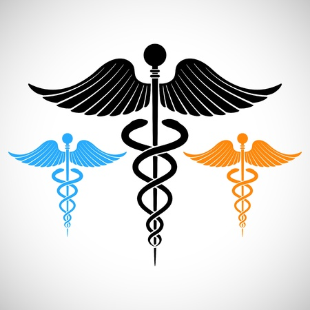 illustration of colorful medical sign Caduceus illustration