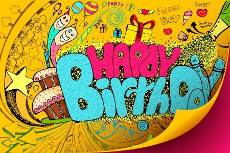 illustratie van kleurrijke happy birthday krabbel