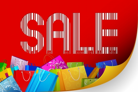 illustration of barcode sale with colorful shopping bag Stock Illustration - 20922721