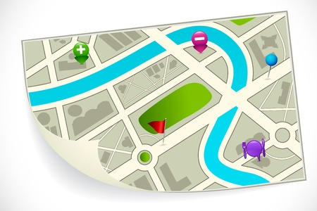roadmap: illustration of road route map with gps icon Stock Photo