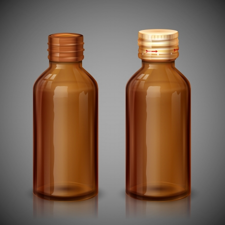 illustration of medical syrup bottle with cap illustration
