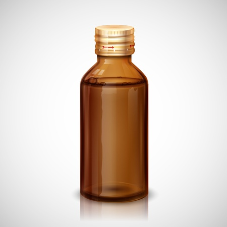 Ilustración de la botella de cristal con jarabe médica