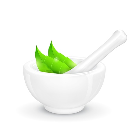 ayurveda: illustration of mortar and pestle with herbal leaf