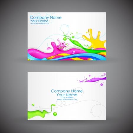 bijsluiter: illustratie van de voor-en achterkant van corporate visitekaartje met abstracte achtergrond