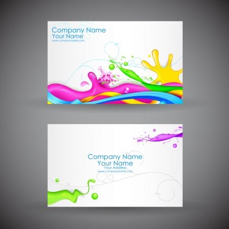 business card layout: illustration of front and back of corporate business card with abstract background