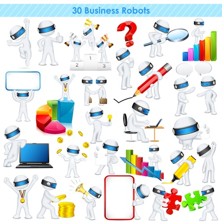 schaalbaar: illustratie van 3d zakenman in volledig scalable vector Stock Illustratie