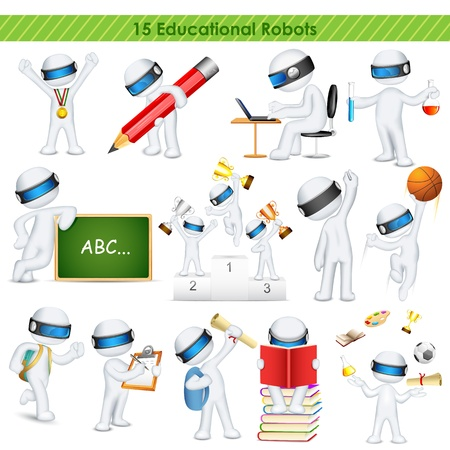 illustration of 3d education student in fully scalable vector Vector