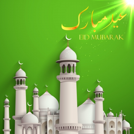 mosque: illustration of Eid Mubarak background with mosque