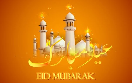 kareem: illustration of Eid Mubarak background with mosque