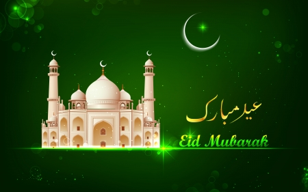 iftar: illustration of Eid Mubarak card with Taj Mahal in night view