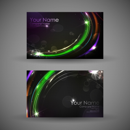 illustration of front and back of corporate business card with abstract background illustration
