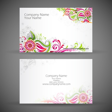 illustration of front and back of corporate business card with floral design illustration