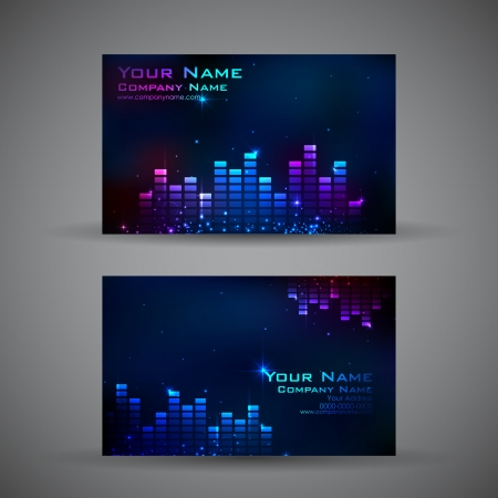 illustration of front and back of corporate business card with musical background illustration