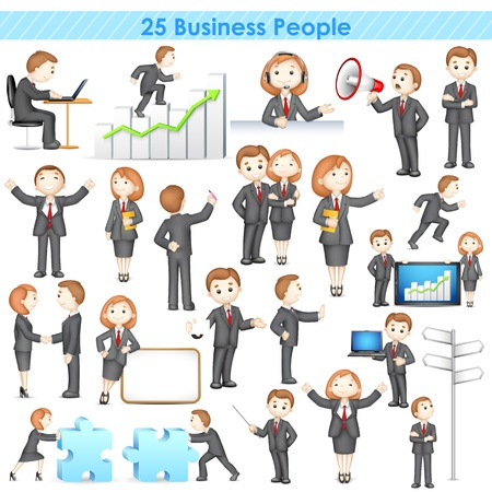 illustration of 3d businesspeople collection doing different activities Çizim