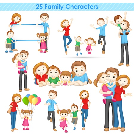 mum and daughter: illustration of collection of 3d family people