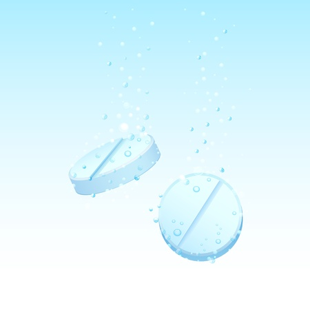 illustration of pills dissolving in water illustration