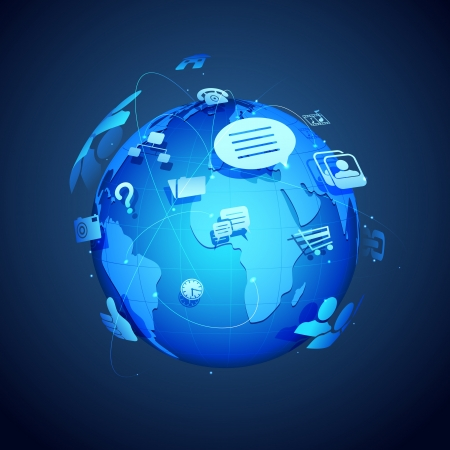 illustration of technology and networking symbol around Earth illustration