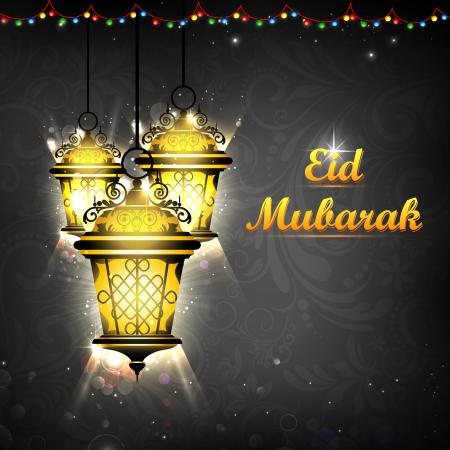 faroles: ejemplo de la lámpara de iluminación de Eid Mubarak fondo Foto de archivo