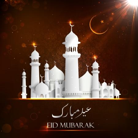 chand: ilustraci�n de Eid Mubarak fondo con la mezquita Foto de archivo
