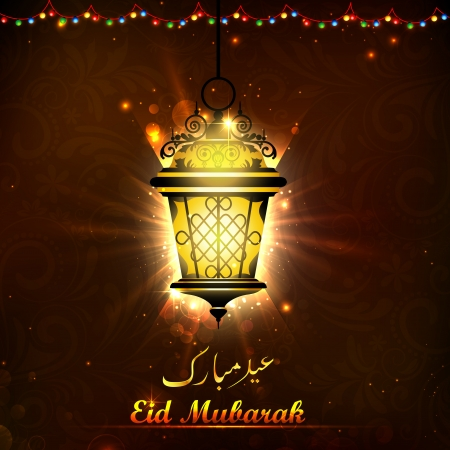 illustration of illuminated lamp on Eid Mubarak background illustration