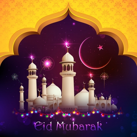 рамадан: иллюстрация Ид Мубарак фон с мечетью Фото со стока