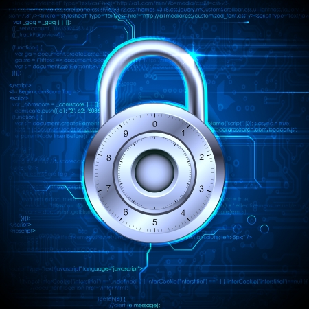 information security: illustration of data security concept with lock on coding background