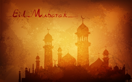 chand: illustration of Grungy Eid Mubarak Background with mosque Stock Photo