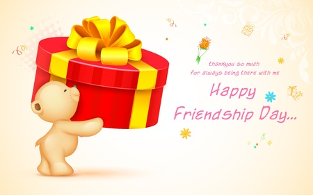 illustration of cute teddy bear wishing Happy Friendship Day illustration