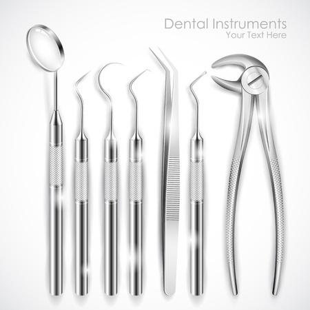 dental treatment: illustration of set of realistic dental equipment