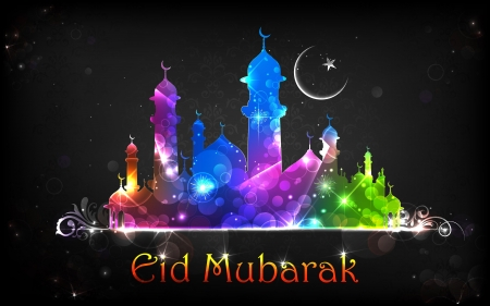 chand: illustration of Eid Mubarak background with mosque
