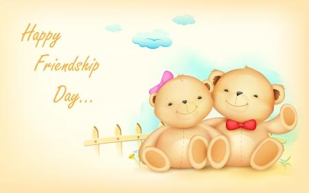 illustration of cute couple of teddy bear waving hand illustration