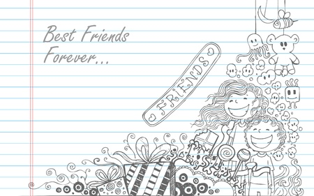 truelove: illustration of Friendship Day doodle in sketchy look