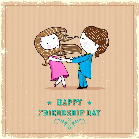 lover boy: illustration of friends enjoying Happy Friendship Day