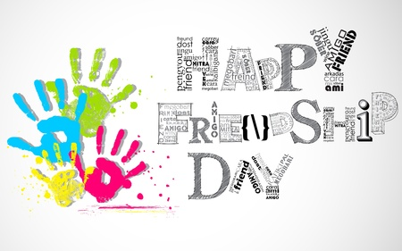 friendship day: illustration of colorful hand print showing Happy Friendship Day Stock Photo