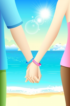 lover boy: illustration of pair of gripped hands of friends on the beach