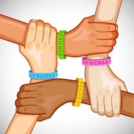 illustratie van de hand van multiraciale mensen dragen vriendschap band Stockfoto