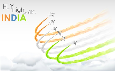 26 january: illustration of airplane making Indian tricolor flag in sky