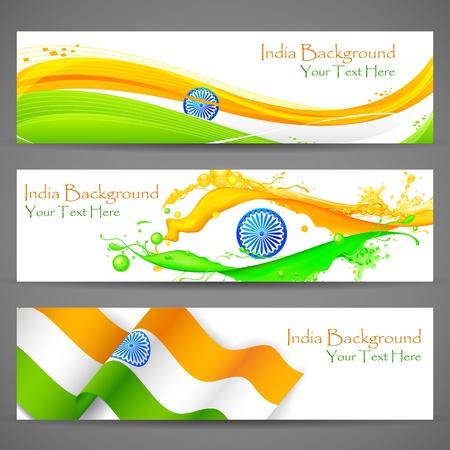 bandera de la india: Ilustraci�n del conjunto de banners y cabecera de colorido la India